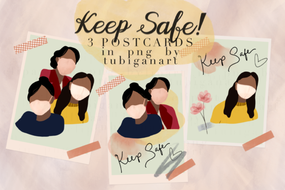 Print on Demand: Three Keep Safe Postcards Graphic Illustrations By Tubiganart