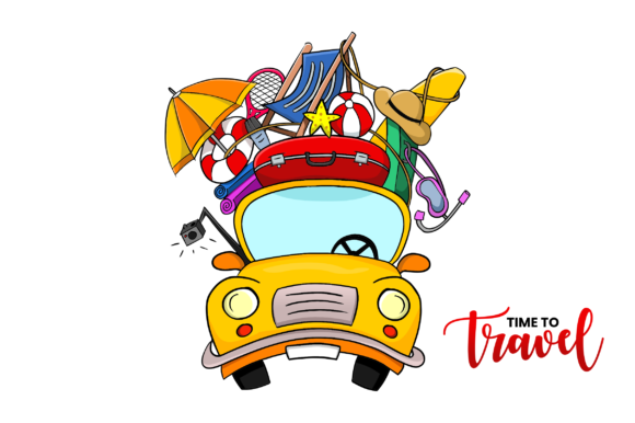 Time to Travel Concept - Yellow Car Graphic Illustrations By xhafergashi
