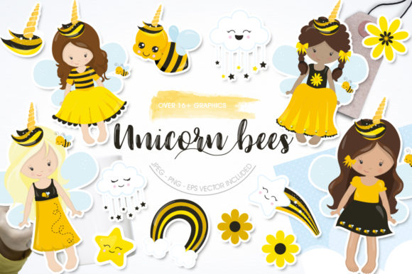 Print on Demand: Unicorn Bees Graphic Illustrations By Prettygrafik