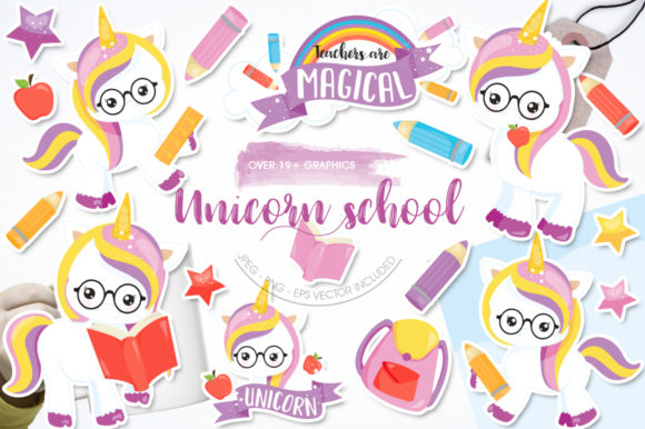 Print on Demand: Unicorn School Graphic Illustrations By Prettygrafik