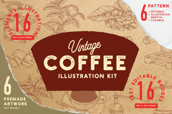 Vintage Coffee Illustration Kit Graphic Illustrations By Cuplis Design