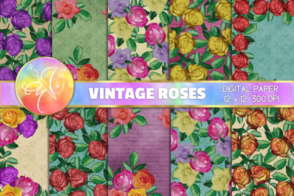 Vintage Roses Digital Paper / Background Graphic Backgrounds By paperart.bymc