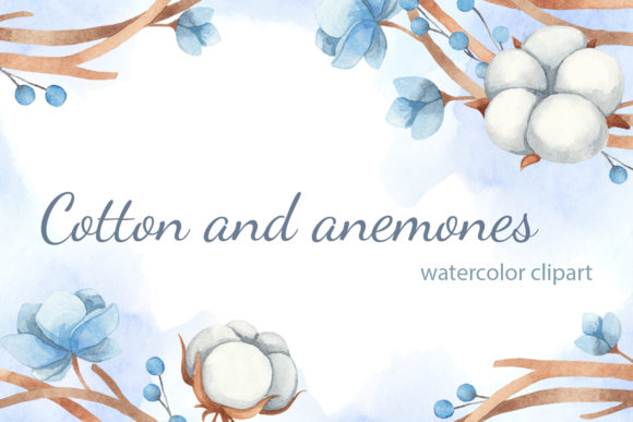 Print on Demand: Watercolor Clipart of Cotton and Flowers Graphic Illustrations By JuliaKutsaieva