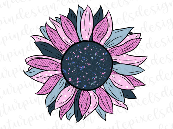 Print on Demand: Whimsical Sunflower - Pink and Blue Graphic Illustrations By SusanTurpinDesign