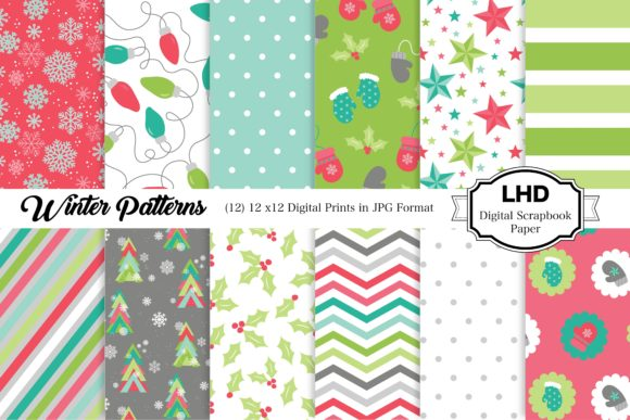 Winter Patterns Digital Paper Graphic Patterns By LeskaHamatyDesign