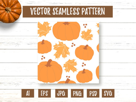 Yellow Maple Leaves and Pumpkin Pattern Graphic Patterns By cyrilliclettering