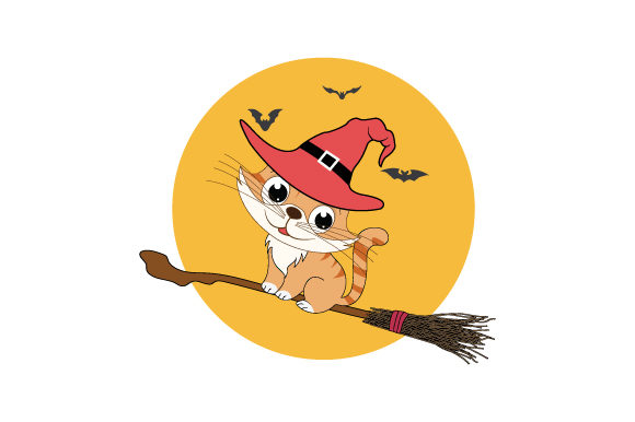 Print on Demand: Cute Cat with Halloween Costume Graphic Illustrations By curutdesign