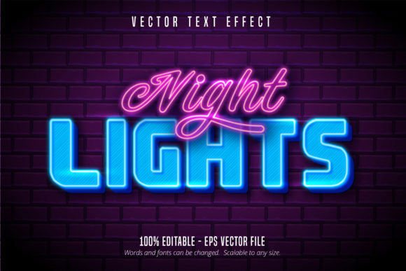 Print on Demand: Neon Style Editable Text Effect Graphic Graphic Templates By Mustafa Bekşen