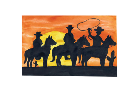 Three Cowboys on Horses with Sunset Horse & Equestrian Craft Cut File By Creative Fabrica Crafts
