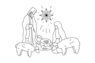 Nativity Scene Coloring Page Religious Craft Cut File By Creative Fabrica Crafts