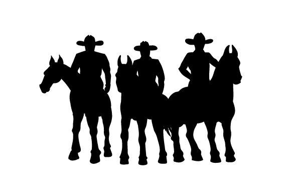 Three Cowboys on Horses Horse & Equestrian Craft Cut File By Creative Fabrica Crafts