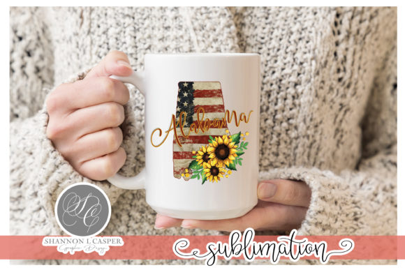 Print on Demand: Alabama American Flag with Sunflowers Graphic Illustrations By Shannon Casper
