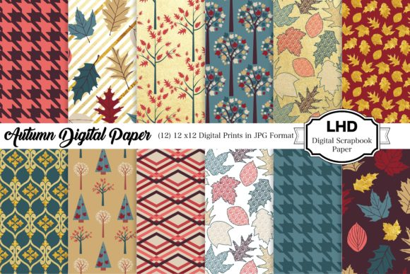 Autumn Gold Digital Papers Graphic Patterns By LeskaHamatyDesign