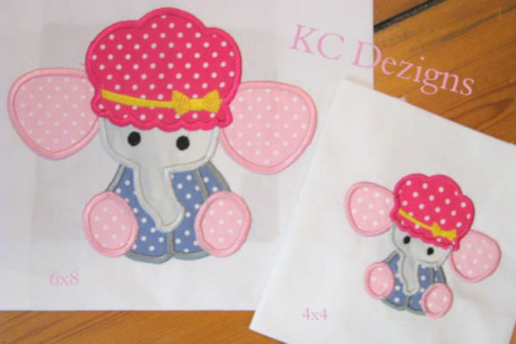 Baby Elephant with Hat Baby Animals Embroidery Design By karen50 - Image 1