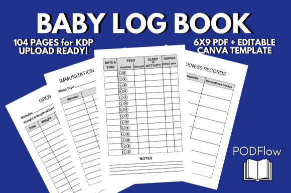 Baby Log Book Breastfeeding KDP Interior Graphic KDP Interiors By PODFlow