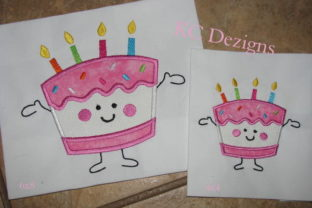 Birthday Cupcake Character Boys & Girls Embroidery Design By karen50
