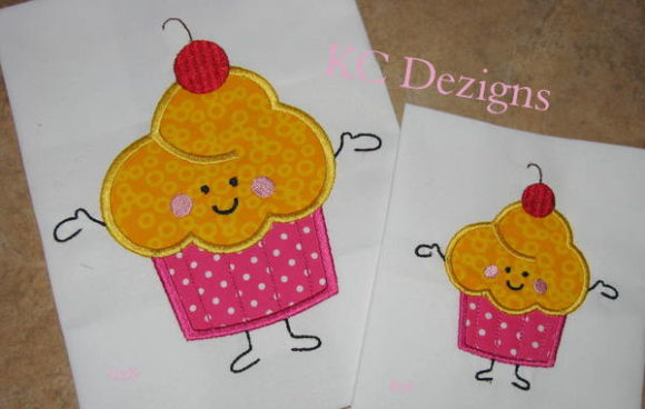 Birthday Cupcake with Cherry Character Boys & Girls Embroidery Design By karen50