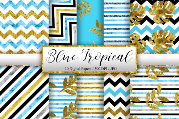 Blue Tropical Glitter Digital Papers Graphic Backgrounds By PinkPearly