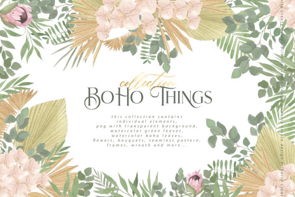 Boho Things Art Collection Graphic Illustrations By BilberryCreate