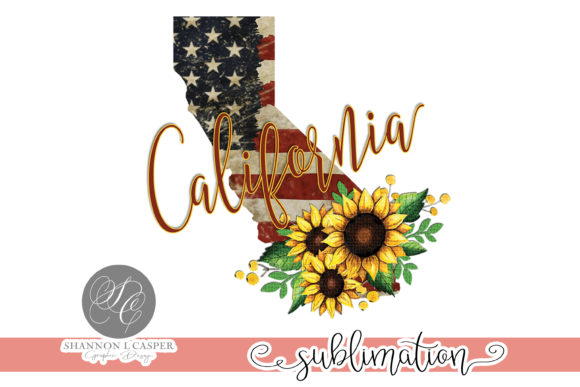Print on Demand: California US Flag with Sunflowers Graphic Illustrations By Shannon Casper