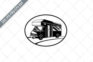 Print on Demand: Campervan or Motorhome Side View Graphic Illustrations By patrimonio