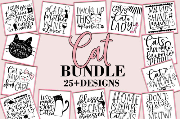 Print on Demand: Cat Quotes Bundle Graphic Crafts By freelingdesignhouse