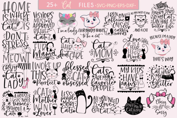 Print on Demand: Cat Quotes Bundle Graphic Crafts By freelingdesignhouse - Image 2