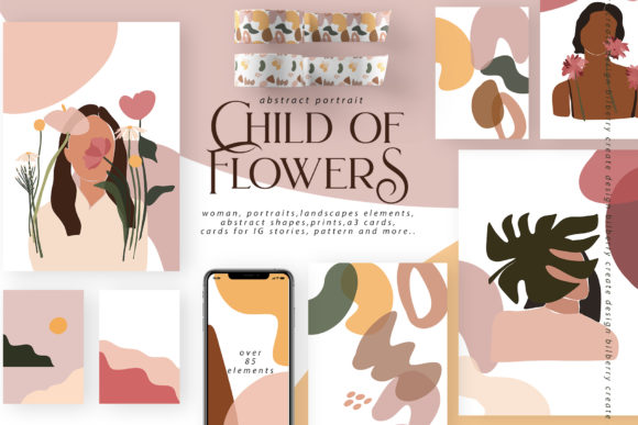 Child of Flowers Abstract Portrait Graphic Illustrations By BilberryCreate