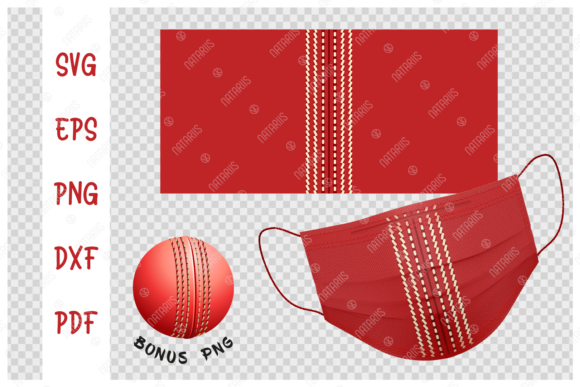 Cricket Ball Background for Face Mask  Graphic Crafts By Natariis Studio