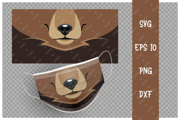 Cute Bear Animal Mouth for Face Mask Graphic Crafts By Natariis Studio