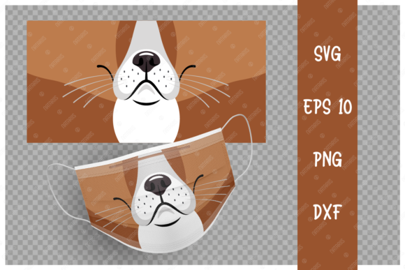 Cute Dog Animal Mouth for Face Mask Graphic Crafts By Natariis Studio