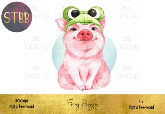 Cute Pig in a Hat Sublimation Design Graphic Illustrations By STBB