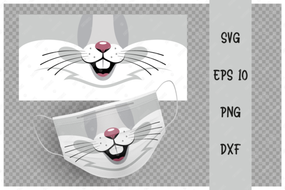 Cute Rabbit Animal Mouth for Face Mask Graphic Crafts By Natariis Studio