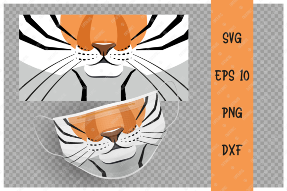 Cute Tiger Animal Mouth for Face Mask Graphic Crafts By Natariis Studio