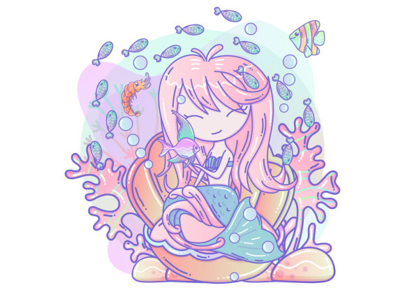 Cute Little Mermaid and Marine Life Graphic Illustrations By maniacvector