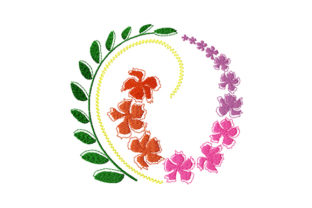 Print on Demand: Dancing Flowers and Leaves Wreath Floral Wreaths Embroidery Design By EmbArt