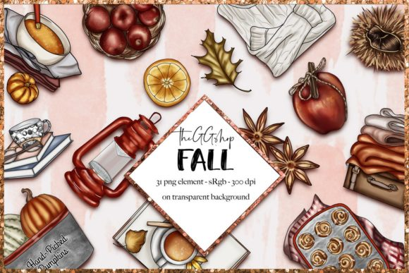Print on Demand: Fall & Thanksgiving Clipart Set Graphic Illustrations By TheGGShop - Image 1