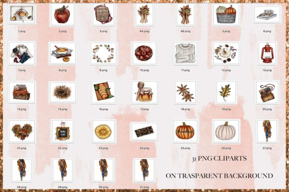 Print on Demand: Fall & Thanksgiving Clipart Set Graphic Illustrations By TheGGShop - Image 2
