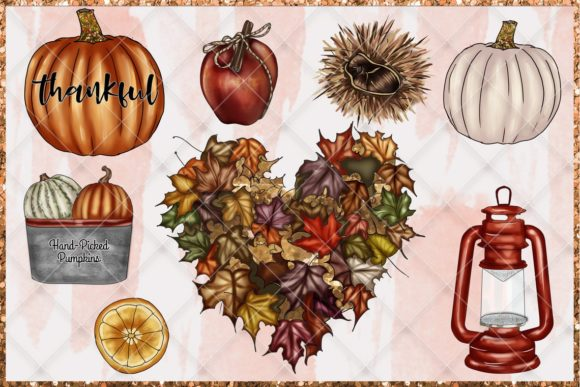 Print on Demand: Fall & Thanksgiving Clipart Set Graphic Illustrations By TheGGShop - Image 7