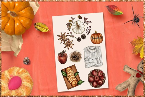 Print on Demand: Fall & Thanksgiving Clipart Set Graphic Illustrations By TheGGShop - Image 9