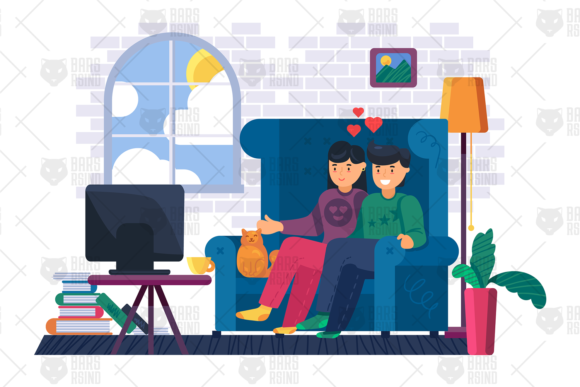 Print on Demand: Family Movie Watching at Home Illustration Graphic Illustrations By barsrsind