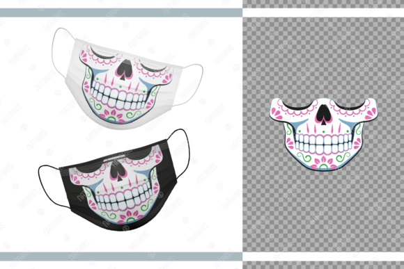 Funny Sugar Skull Design for Face Mask  Grafik Plotterdateien von Natariis Studio