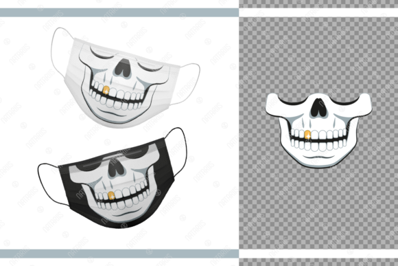Funny Skull and Gold Tooth for Face Mask Graphic Crafts By Natariis Studio