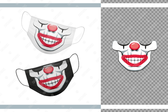 Funny Skull As a Clown for Face Mask Graphic Crafts By Natariis Studio