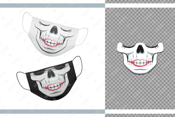 Funny Skull As a Girl for Face Mask Graphic Crafts By Natariis Studio