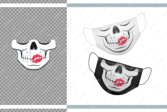 Funny Skull with Kiss for Face Mask Graphic Crafts By Natariis Studio