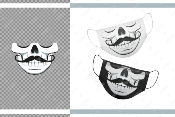 Funny Skull with Moustache for Face Mask Graphic Crafts By Natariis Studio