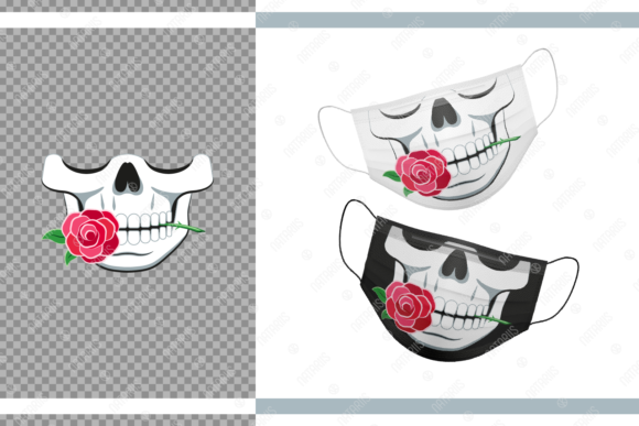 Funny Skull with Rose for Face Mask Graphic Crafts By Natariis Studio
