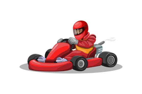 Print on Demand: Go Kart Racer Character in Red Uniform Graphic Illustrations By aryo.hadi