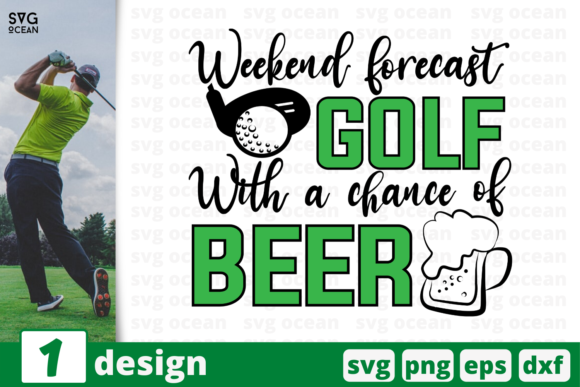 Print on Demand: Golf with a Chance of Beer Graphic Crafts By SvgOcean